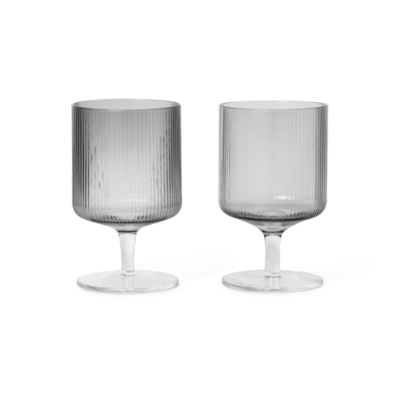 Ferm Living Ripple Wine Glasses Smoked