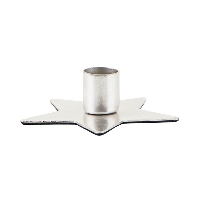House Doctor Star Candle Stand Silver Finish Ø 6 cm