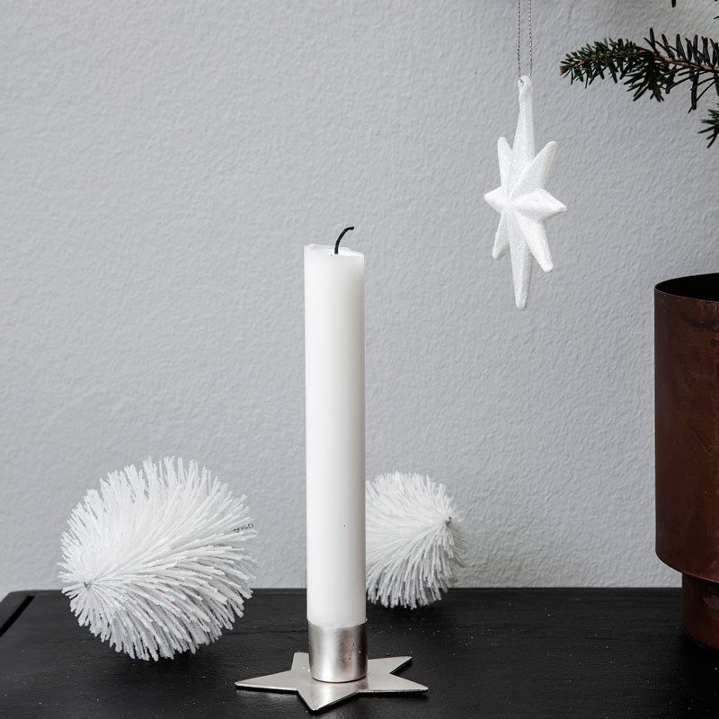 House Doctor Star Candle Stand Silver Finish Ø 7,5 cm