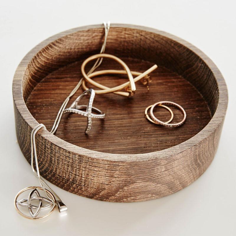 LINDDNA Wood Box Circle Oak Nature
