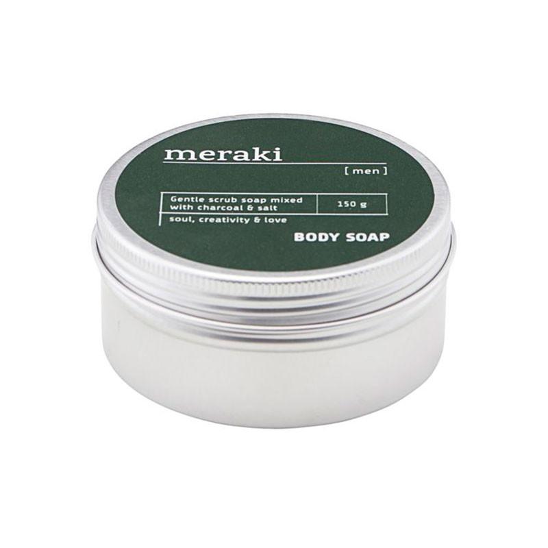 Meraki Body Soap Men charcoal & salt