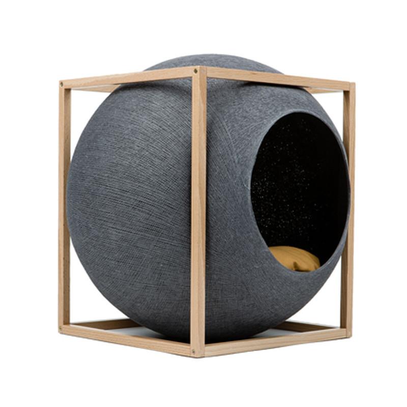 Meyou Paris The Cube Dark Grey Wood Edition Kattekurv