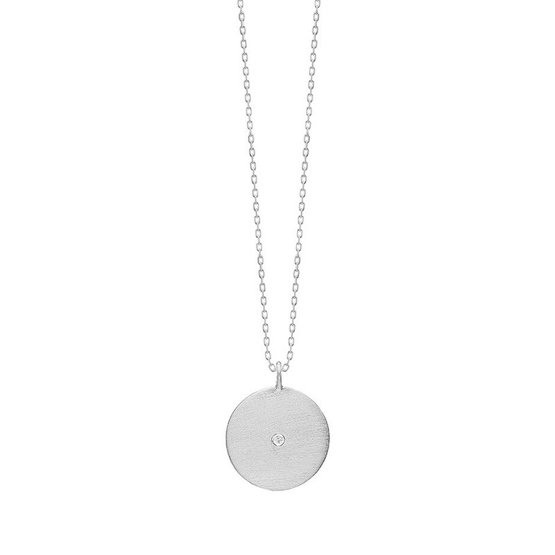 Enamel Copenhagen Rough Diamond Coin Necklace Silver