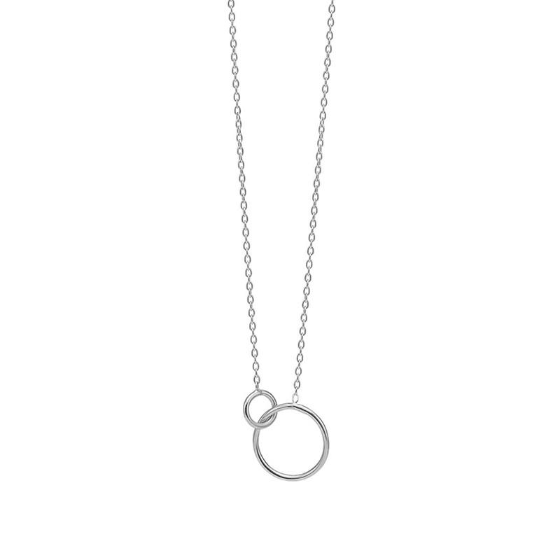 Enamel Copenhagen Double Circle Necklace Silver