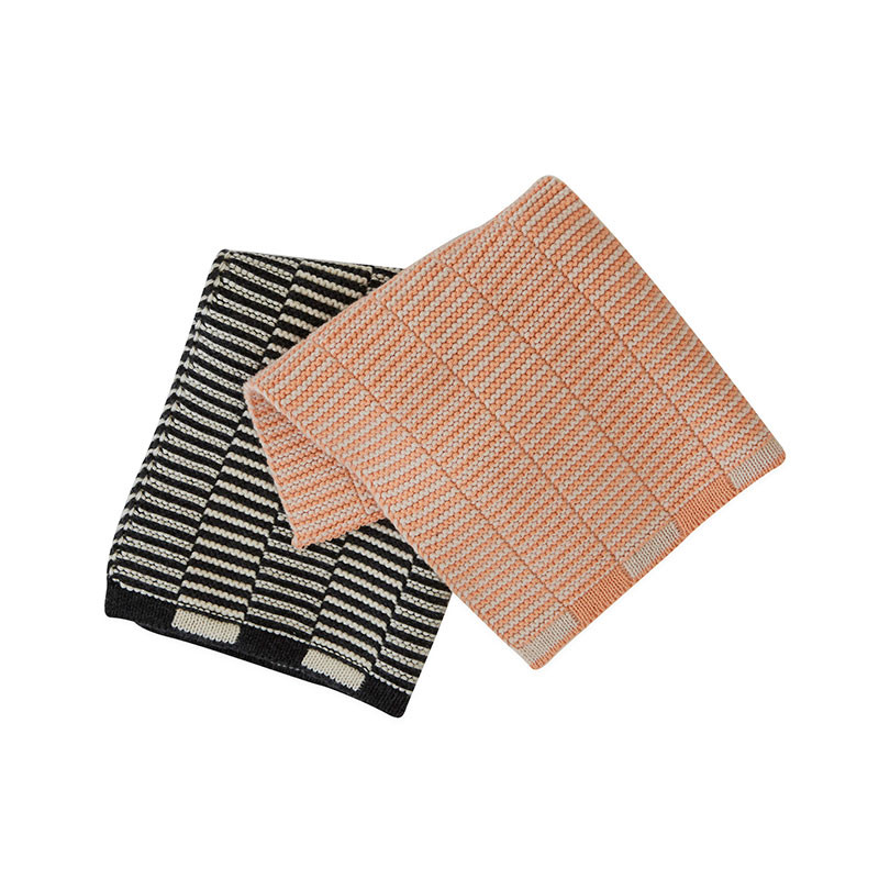 OYOY Stringa Dishcloths Anthracite/Offwhite & Shell/Coral