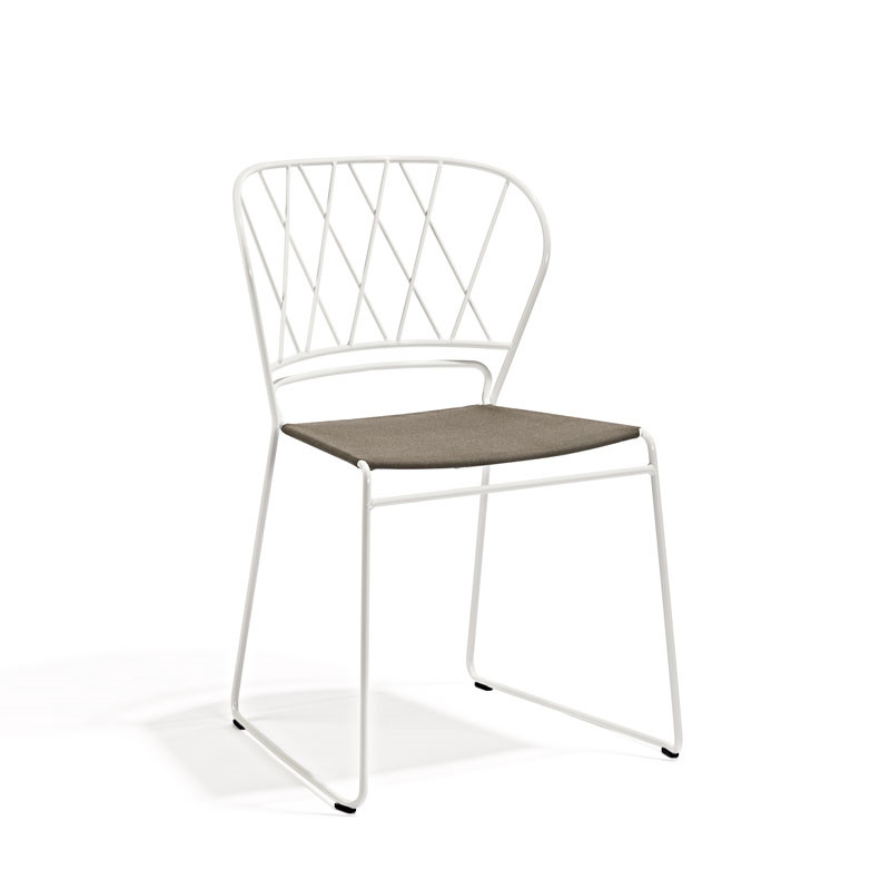 Skargaarden Resö Chair White Metal Beige Fabric Seat