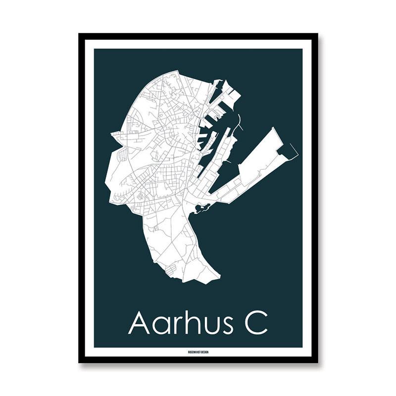 Rosenkvist Design Aarhus C Plakat Blå