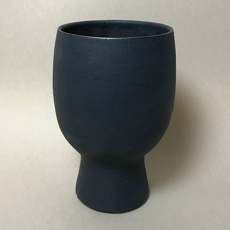 Tina Marie Cph Timbre Footed Vase Wide Top Midnight Glaze Medium