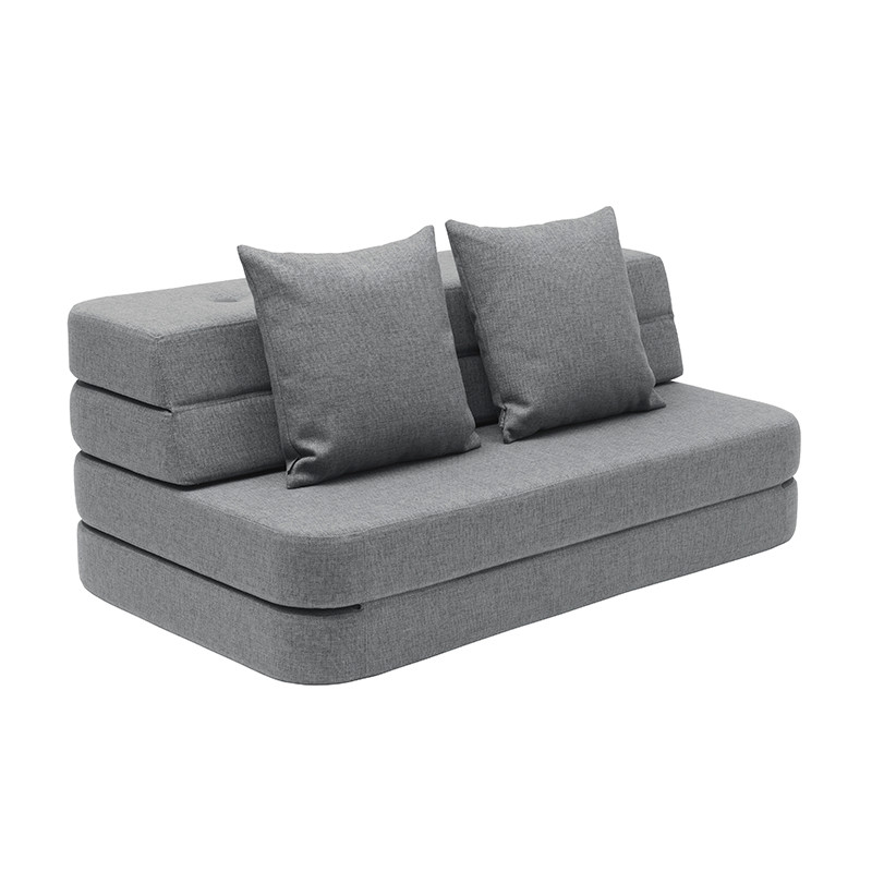 By KlipKlap 3 Fold Sofa XL Soft Blue Grey W. Grey