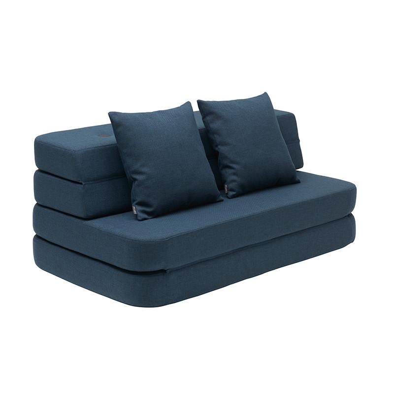 By KlipKlap 3 Fold Sofa XL Soft Dark Blue W. Black