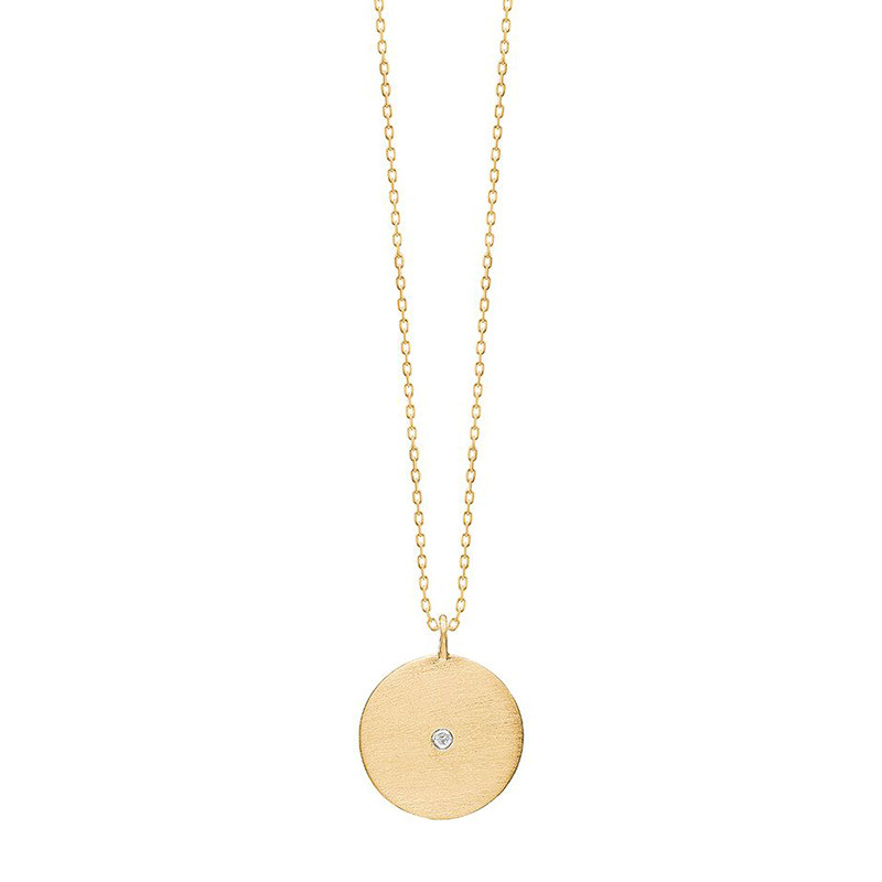 Enamel Copenhagen Rough Diamond Coin Necklace Gold-Plated