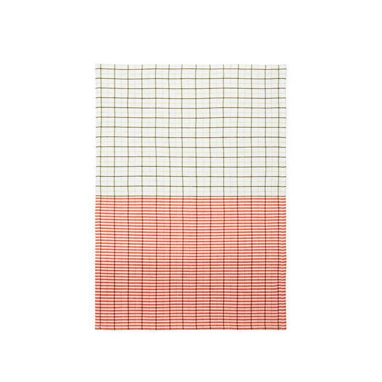 Normann Cph Ren Tea Towel Stripe Grid Pale Green/Spicy Orange