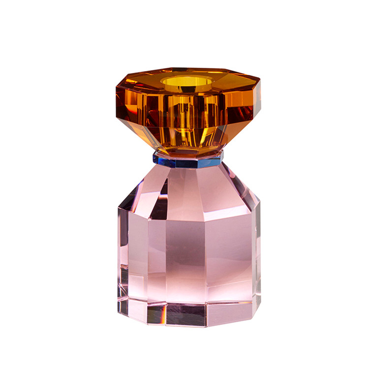 Hübsch Lysestage Glas Pink/Ravgul
