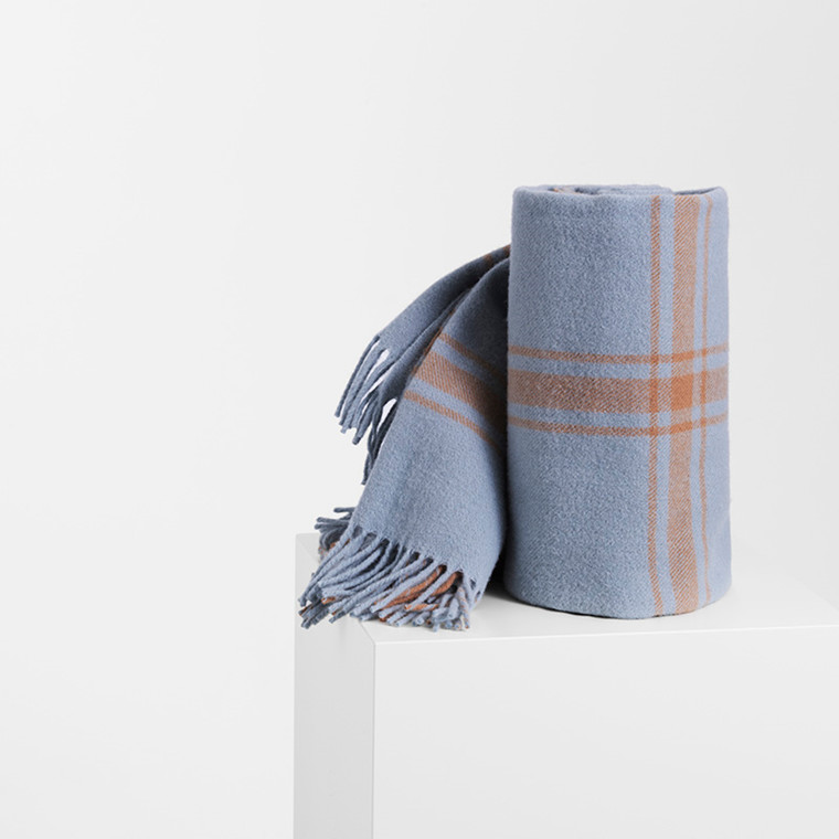 Normann Cph Papa Throw Blanket Check Soft Blue/Peach