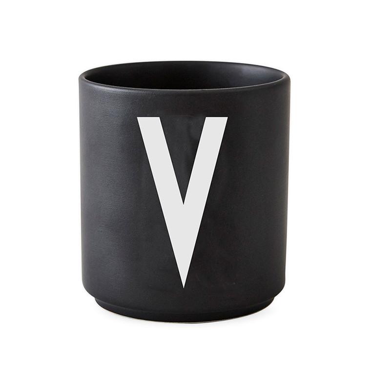 Design Letters Porcelain Cup A-Z Black
