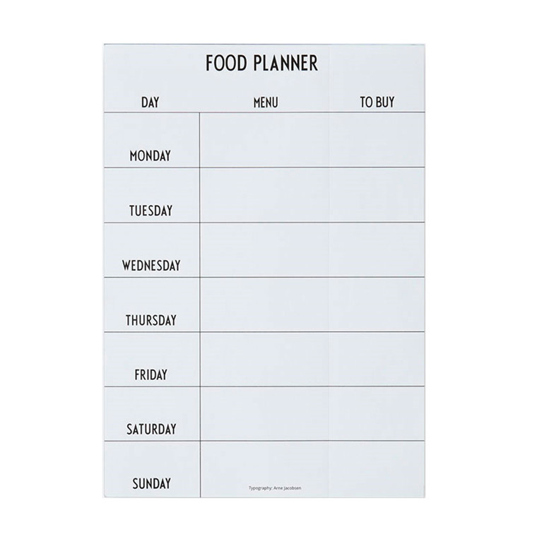 Design Letters Weekly Food Planner White