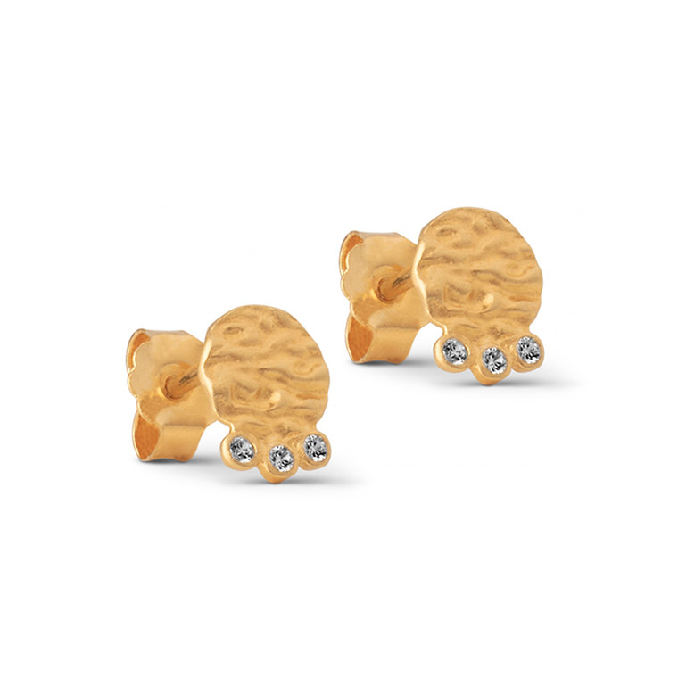 Enamel Copenhagen Hammered Coin Studs Gold-Plated