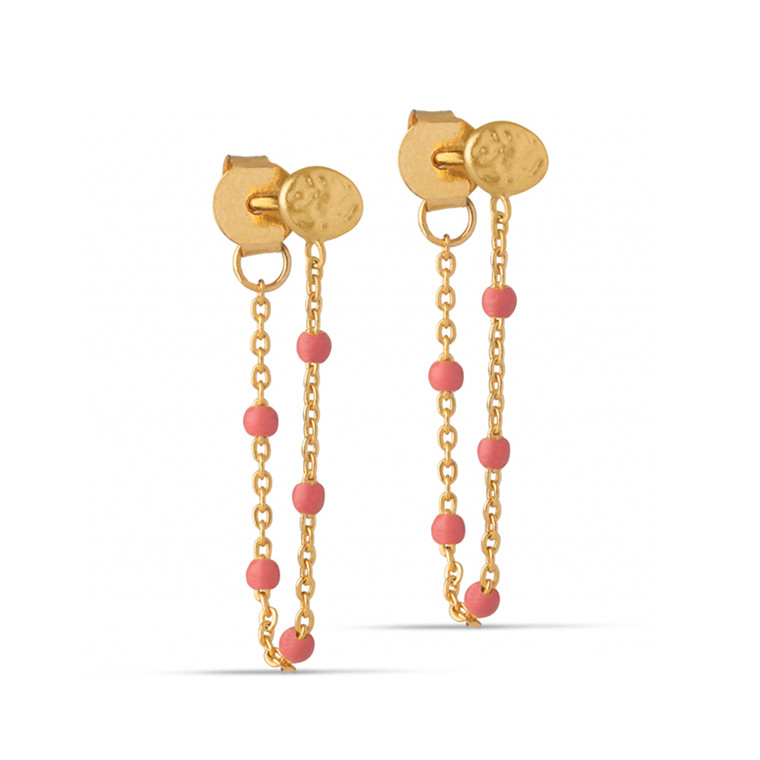 Enamel Copenhagen Lola Earrings Coral Gold-Plated