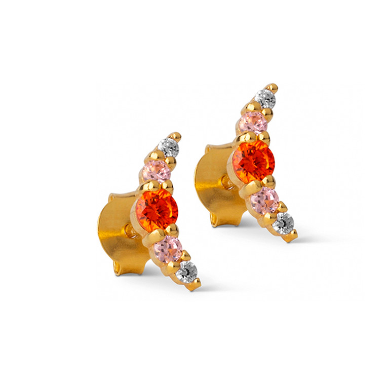 Enamel Copenhagen Refina Earrings Red Gold-Plated
