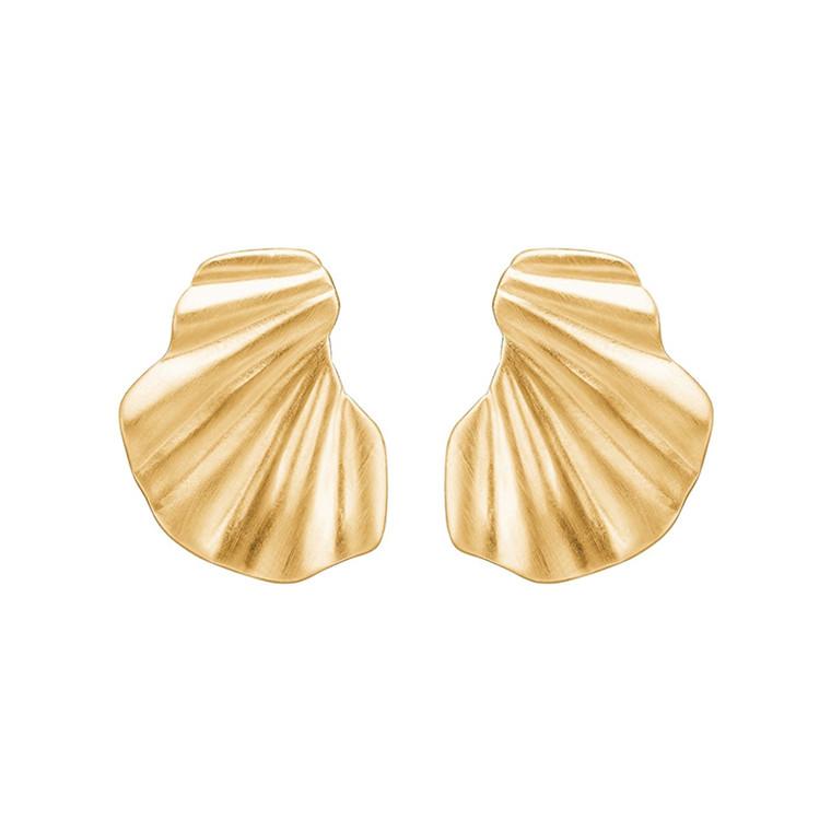 Enamel Copenhagen Wave Earrings Gold-Plated