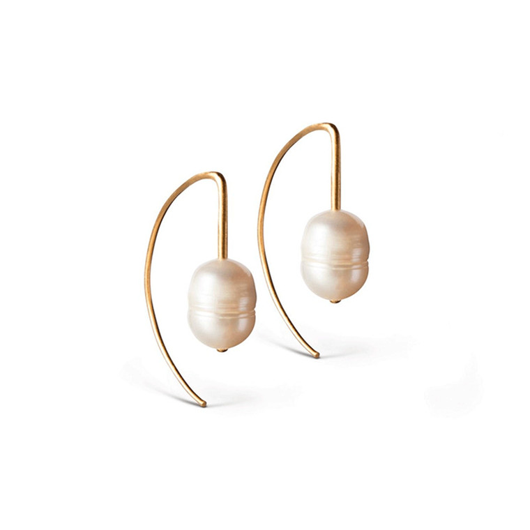 Enamel Copenhagen Edgy Pearl Earrings Gold-Plated