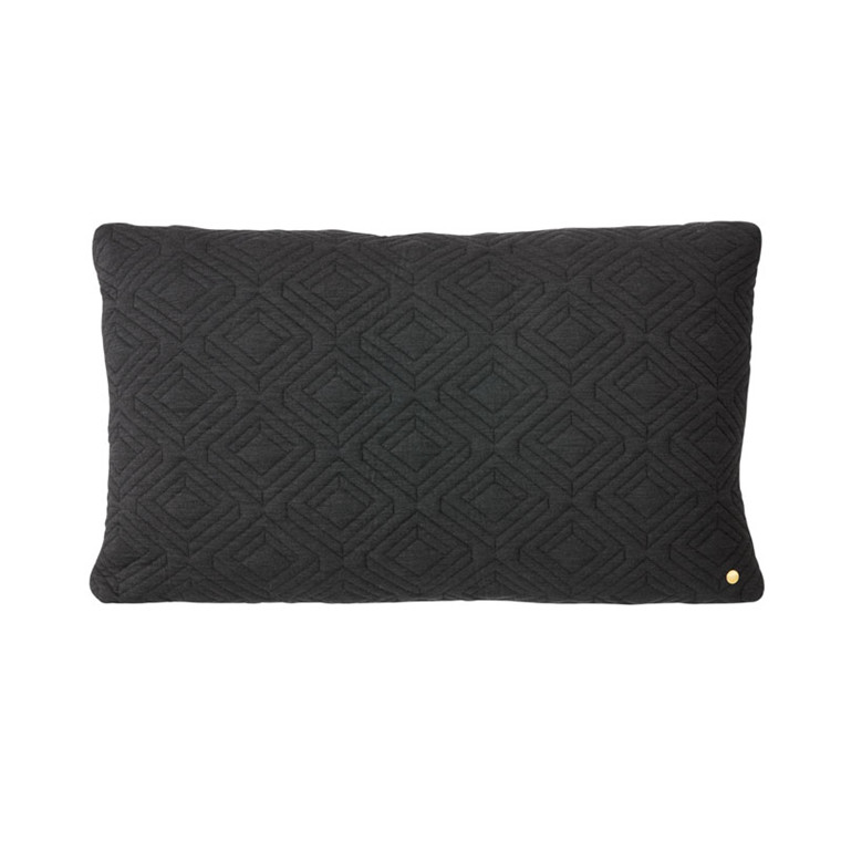 Ferm Living Quilt Cushion Dark Grey 80 x 50