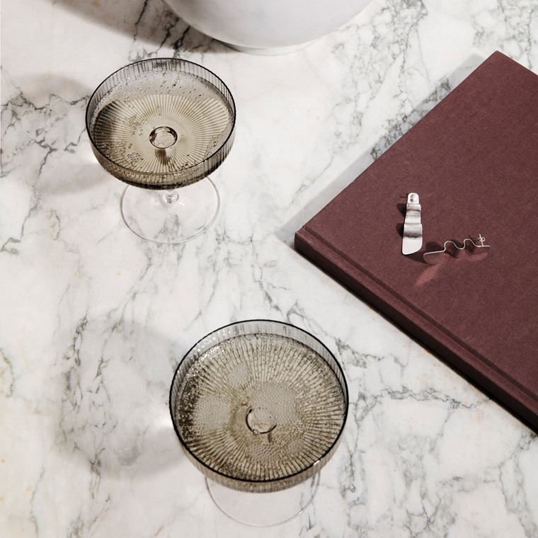 Ferm Living Ripple Champagne Saucers Smoked Grey