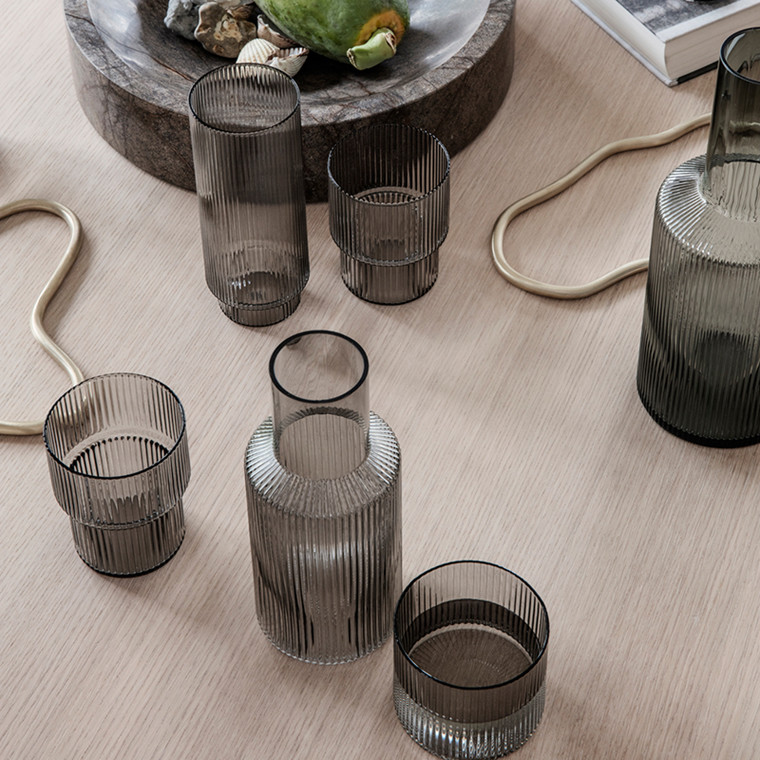 Ferm Living Ripple Glas Smoked Grey