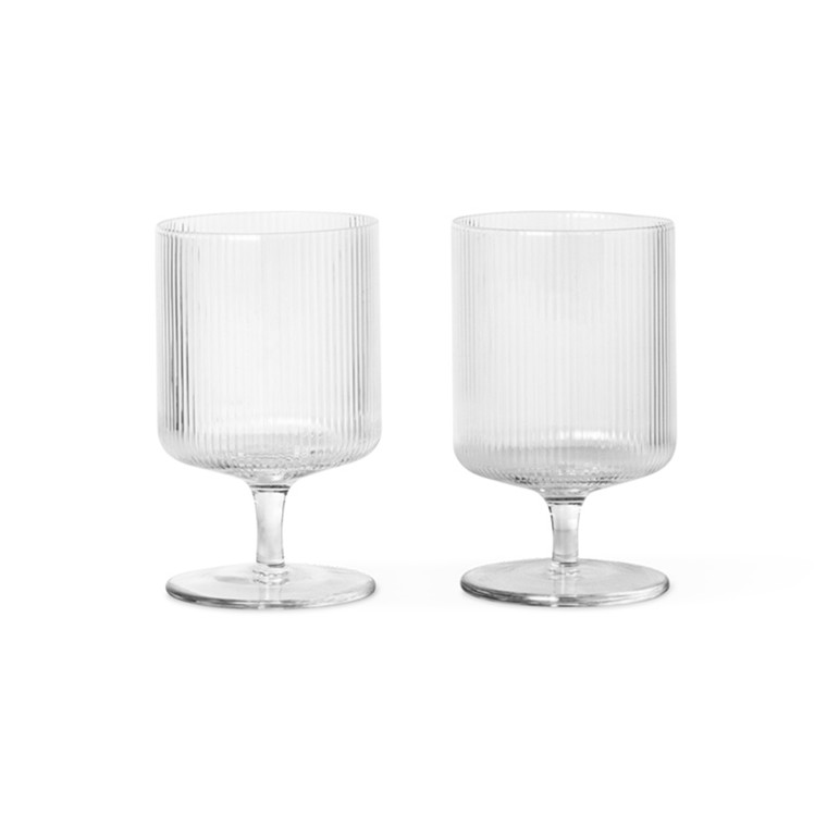 Ferm Living Ripple Wine Glasses Clear