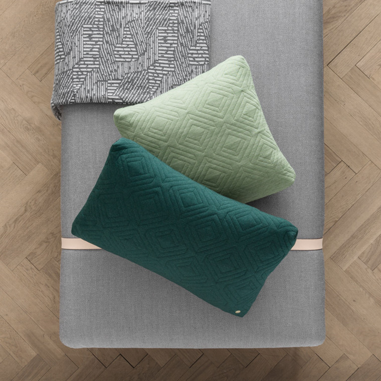 Ferm Living Quilt Cushion Dark Green 60 x 40