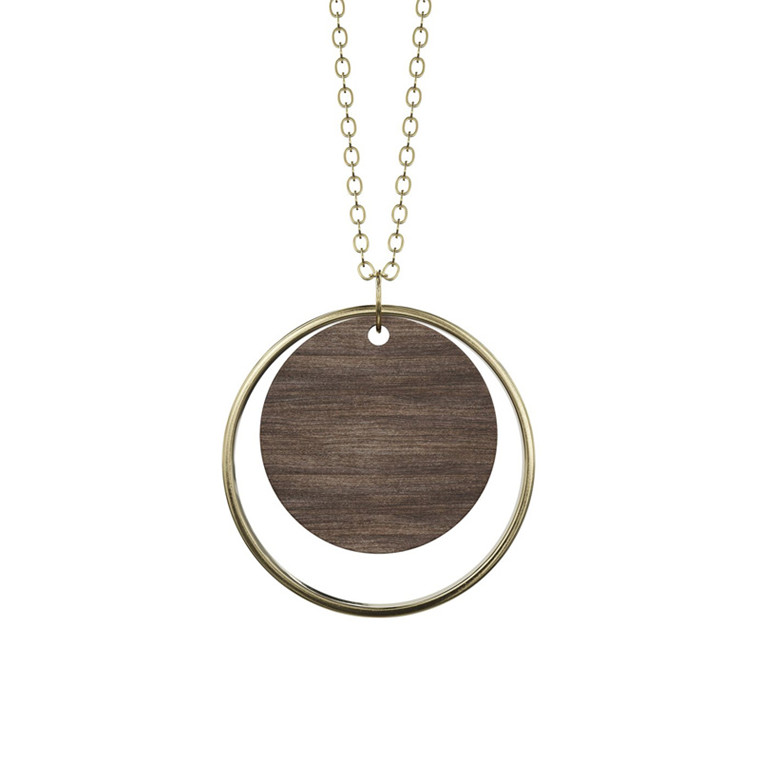 Grundled Adverbium Necklace Dark Wood/Gold