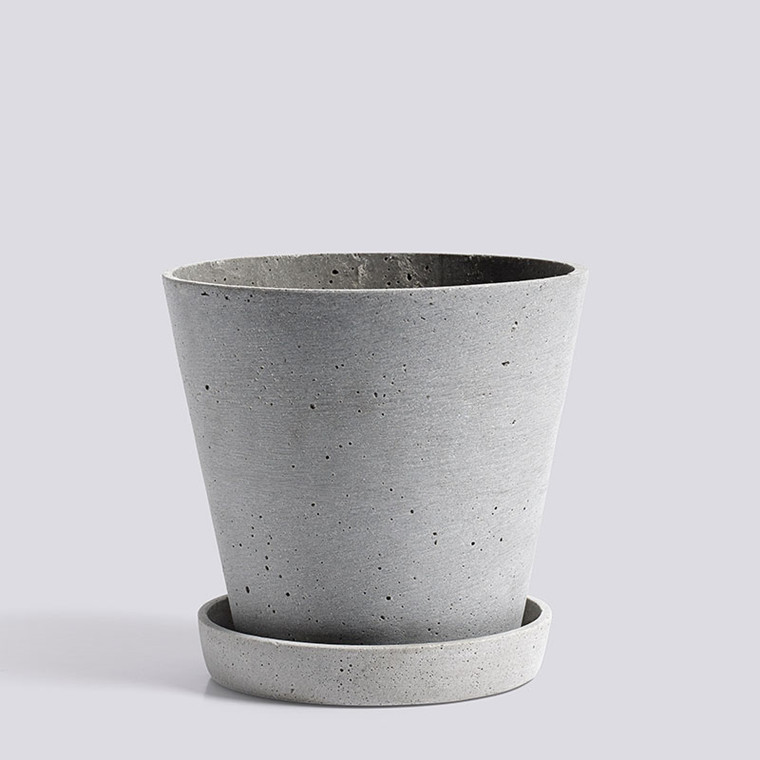 HAY Flowerpot With Saucer L Grey