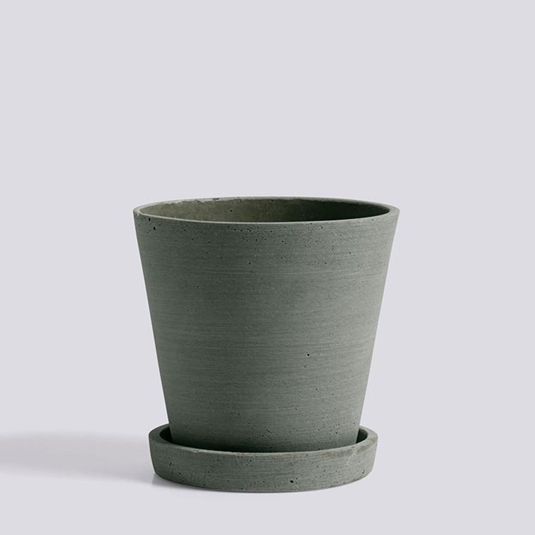 HAY Flowerpot With Saucer M Green