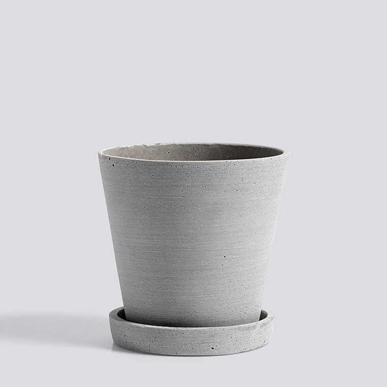 HAY Flowerpot With Saucer M Grey