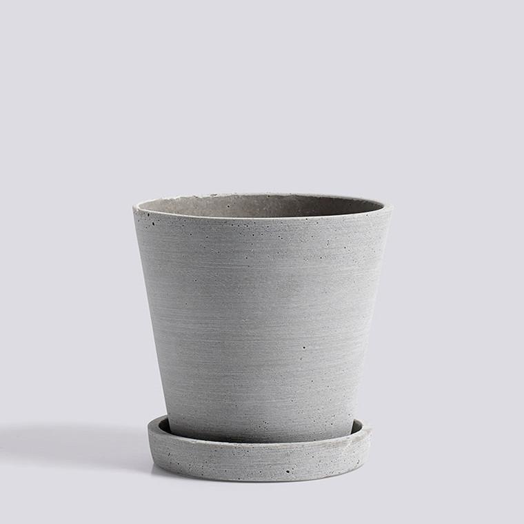 HAY Flowerpot With Saucer M Grey