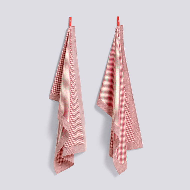 HAY Check Tea Towel Set Pink
