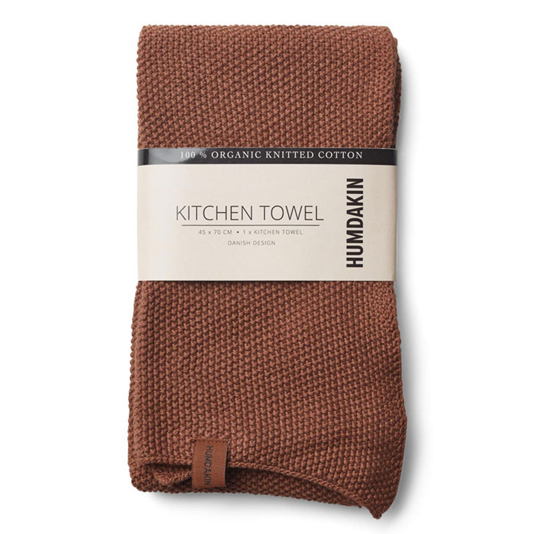 Humdakin Knitted Kitchen Tea Towel Dark Brown
