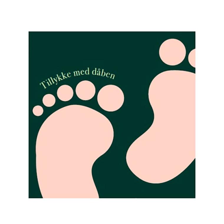 Kort & Plakat Tillykke Med Dåben Dobbeltkort Grøn