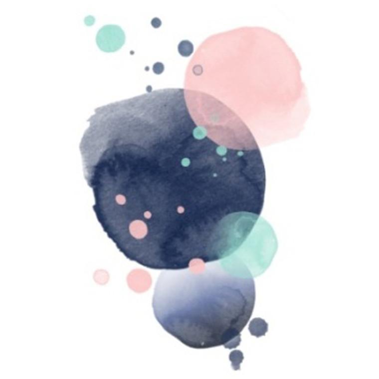 Kort & Plakat Love & Ink Cirkler Dobbeltkort Blå