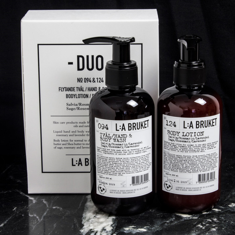 L:A Bruket Duo Kit Soap & Bodylotion Salvie, Rosmarin & Lavendel