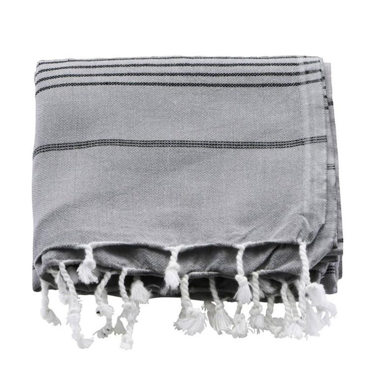 Meraki Hammam Badehåndklæde Grå & Sort Stribe