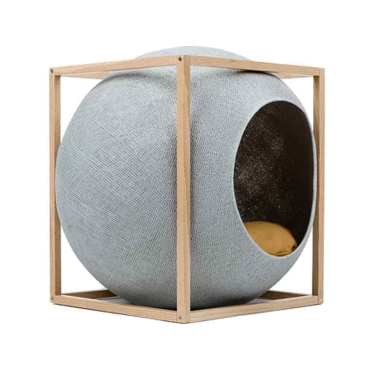 Meyou Paris The Cube Light Grey Wood Edition Kattekurv