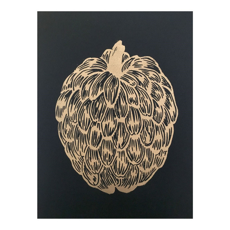 Monika Petersen Guld Cherimoya Plakat Sort A4