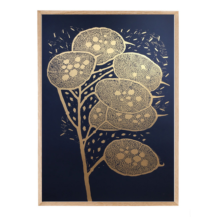 Monika Petersen Winter Branch Gold/Indigo 50 x 70 cm