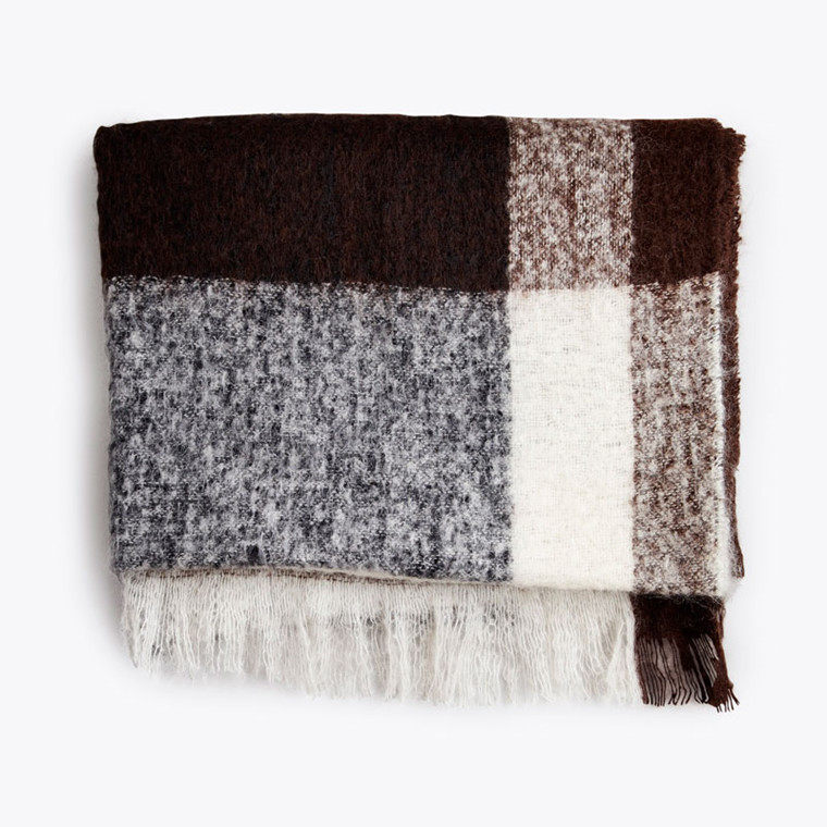New Works Check Throw Plaid Brun