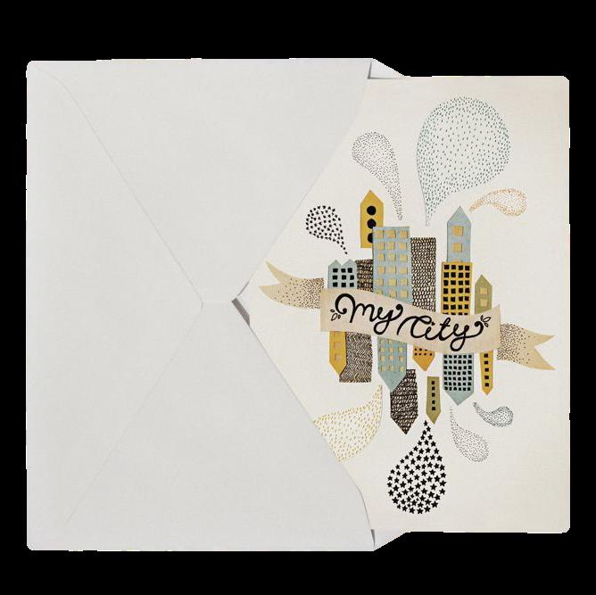 Michelle Carlslund My City Two Postkort