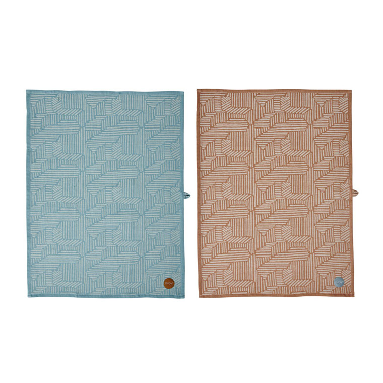 OYOY Paddy Tea Towel Dusty Aqua & Caramel
