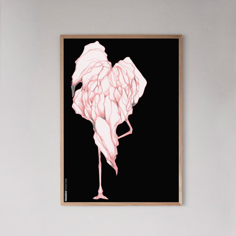 Paradisco Productions Disco Flamingo Indrammet Plakat