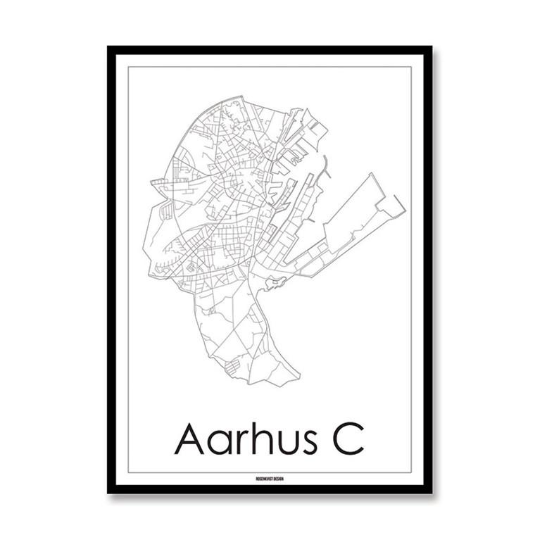 Rosenkvist Design Aarhus C Plakat Hvid