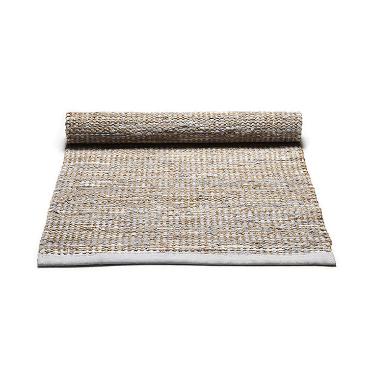 Rug Solid Smooth Grey Jute Rug Medium